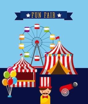 놀이 재미 박람회 테마 파크 포스터 템플릿