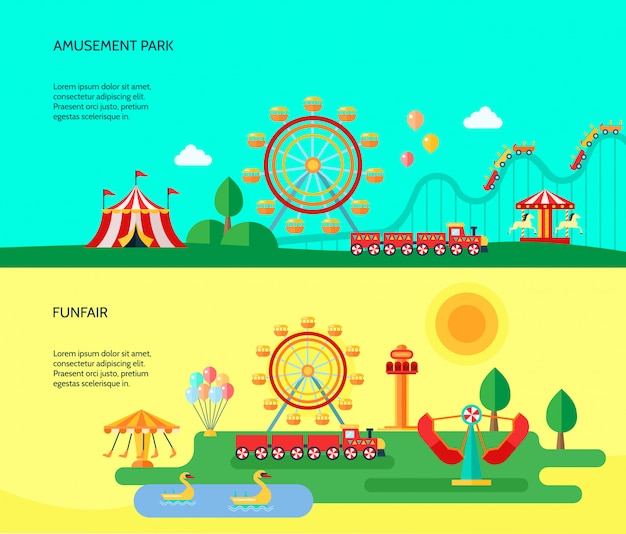 Amusement funfair park park attractions horizontal banners with traveling circus tent