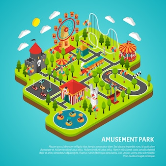 Amusement park attractions fairground isometric banner