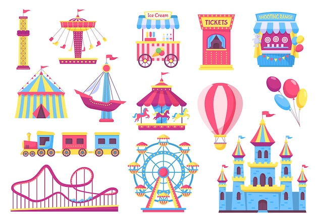 Amusement park attractions, fairground rides, carnival elements. cartoon circus tent, carousel, rollercoaster, funfair games vector set. shooting range, castle and ice cream for excitement