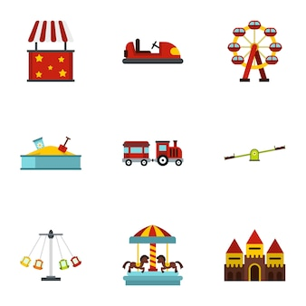 Amusement park attractions set, flat style