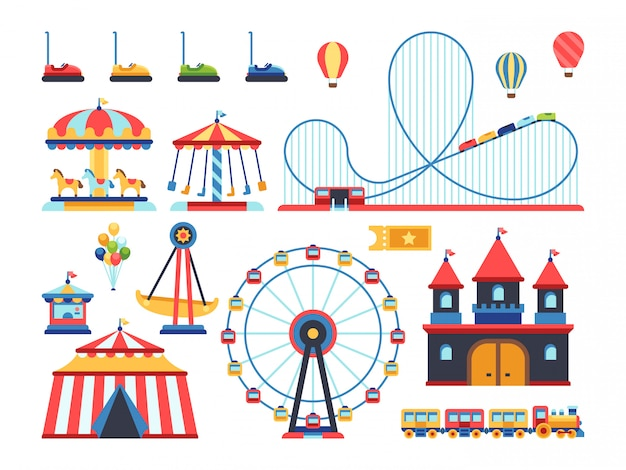 Amusement park attractions. train, ferris wheel, carousel and roller coaster flat elements