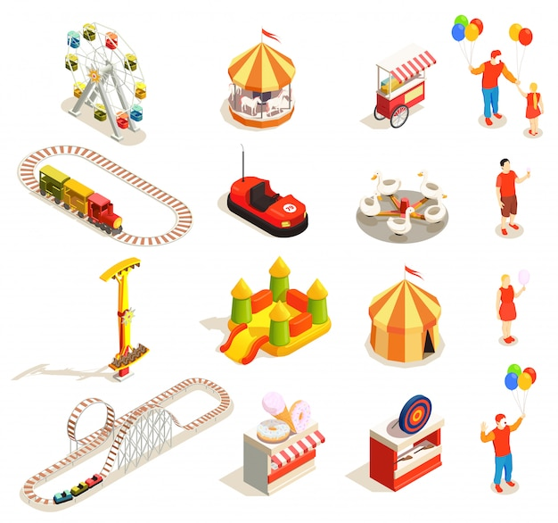 Amusement park attractions and visitors isometric icons set isolated on white  3d