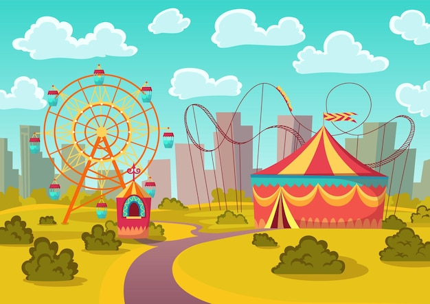 Amusement park attractions with merry-go-round horseabout carousel, observation wheel and roller coaster amusement rides. city landscape on background