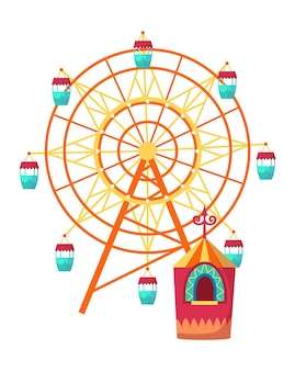 Amusement park attractions with observation wheel and ticket office. vector illustration on white background