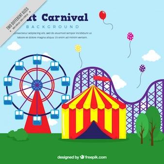 Amusement park background in flat design