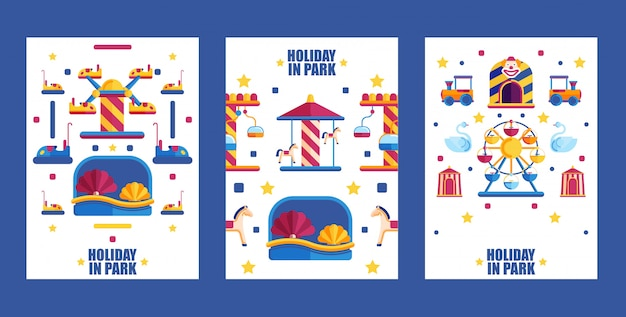 Amusement park banner,  illustration. set of flat icons for summer fairground, carousels and attractions.