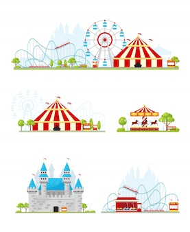 Amusement park banner set