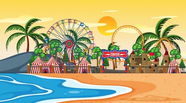 Amusement park on beach scene