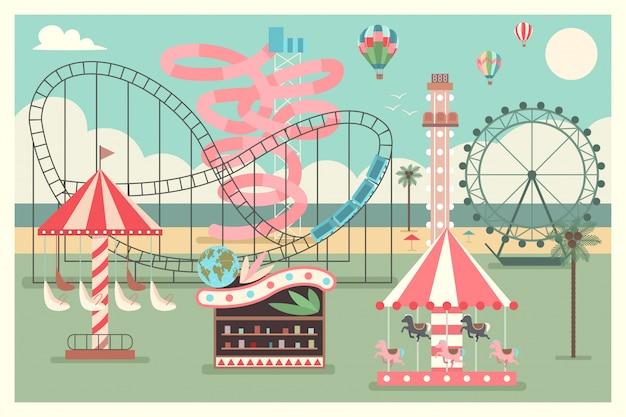 Amusement park on the beach with kid carousel, ferris wheel, water slides and balloons. vector flat summer illustration.