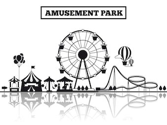 Amusement park black silhouette banner poster design