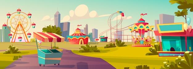 Parco di divertimenti, carnevale o festivo cartone animato