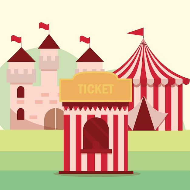 Amusement park carnival tickets booth tent and castle illustration