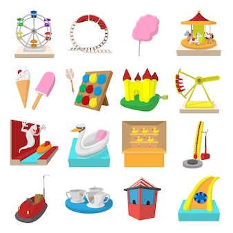 Amusement park cartoon icons set isolated