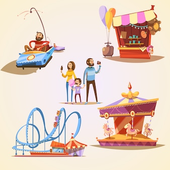 Amusement park cartoon set with retro style attractions