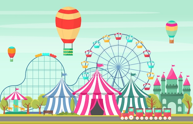 Amusement park circus carnival festival fun fair landscape illustration