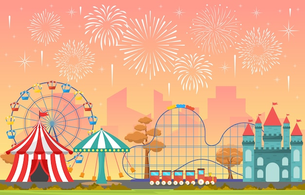 Amusement park circus carnival festival fun fair with firework landscape illustration