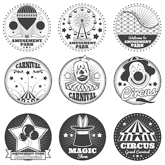 Amusement park, circus and carnival vector vintage emblems and labels
