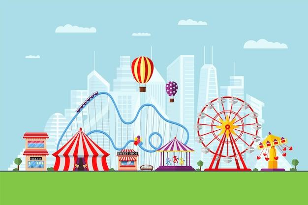 놀이 공원 서커스 회전 목마 롤러 코스터 및 명소 재미있는 박람회 및 카니발 테마 풍경 프리미엄 벡터
