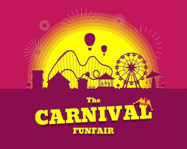 놀이 공원 서커스 회전 목마 롤러 코스터 및 명소 재미있는 박람회 및 카니발 테마 풍경