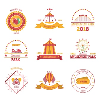 Amusement park colorful emblems set of nine flat compositions with pavilion aerostat and fairground attraction images illustration