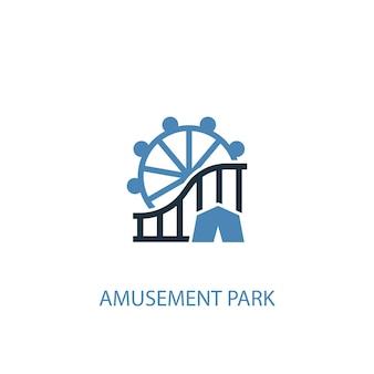 Концепция парка развлечений 2 цветной значок. простой синий элемент иллюстрации. дизайн символа концепции парка развлечений. может использоваться для веб- и мобильных ui / ux