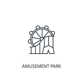 Значок линии концепции парка развлечений. простая иллюстрация элемента. концепция парка развлечений наброски символ дизайн. может использоваться для веб- и мобильных ui / ux