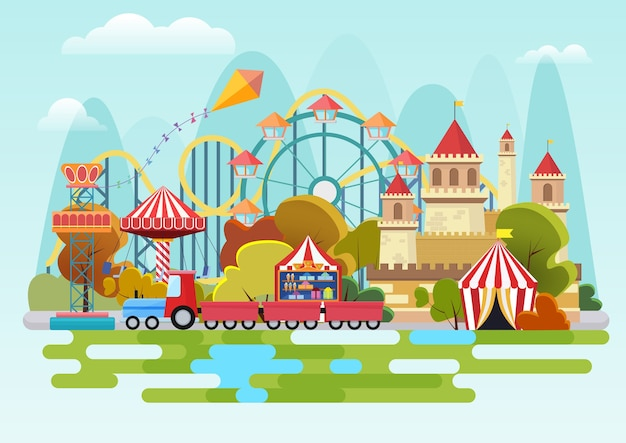 Amusement park  concept on the mountains background