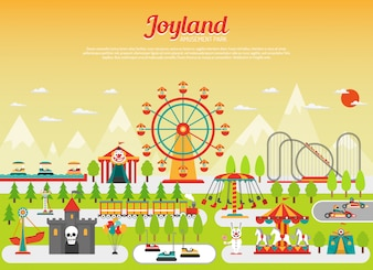 Amusement park concept with flat fairground elements with mountains on background