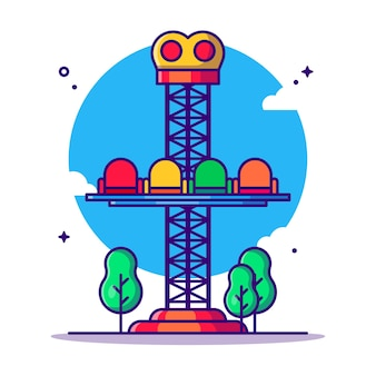 Amusement park drop tower   cartoon illustration