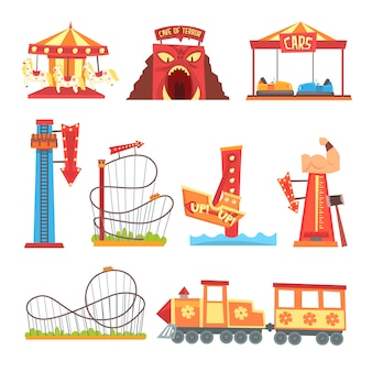 놀이 공원 요소 세트, 흰색 배경에 유원지 매력 다채로운 만화 일러스트