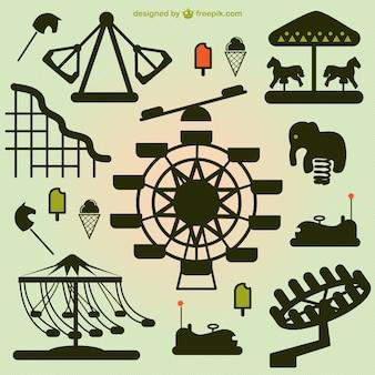 Amusement park elements silhouettes