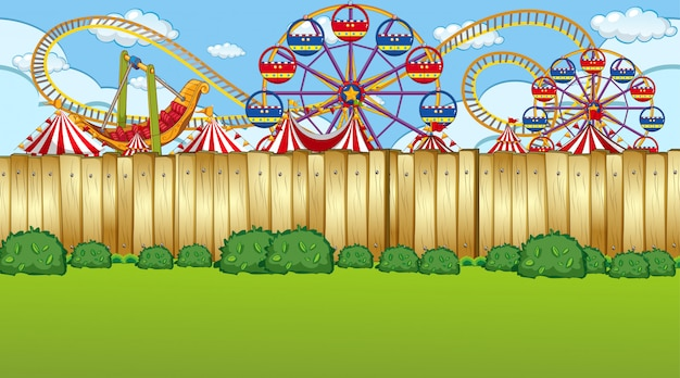 Amusement park fence scene
