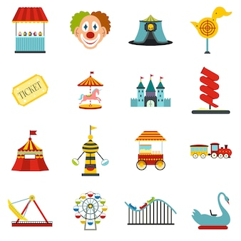 Amusement park flat elements set isolated