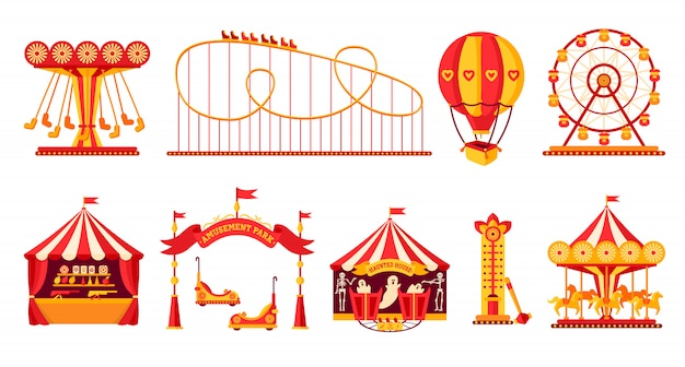Amusement park flat set carousel horse cartoon style fairground rollercoaster, balloon ferris wheel