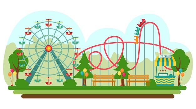 Amusement park in flat style, vector illustration
