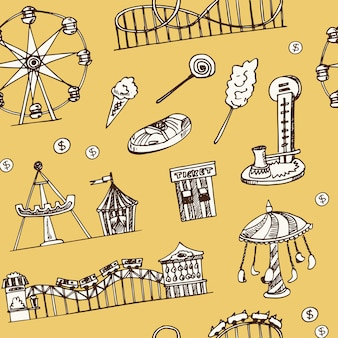 Amusement park hand drawn doodle seamless pattern
