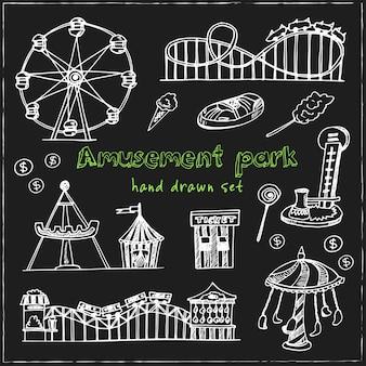 Amusement park hand drawn doodle set