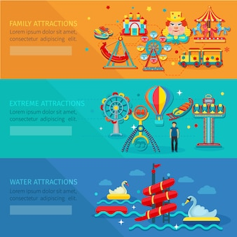 Amusement park horizontal banner set with water family extreme attractions