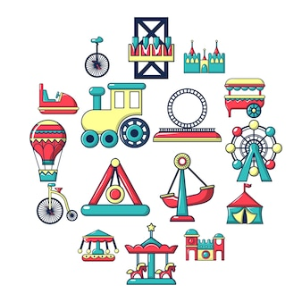 Amusement park icon set, cartoon style
