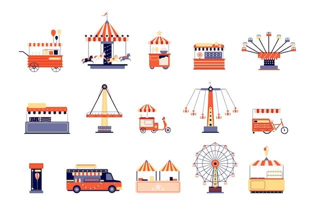 Amusement park icons. city attractions entertainment.