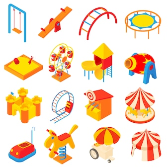 Amusement park icons set in cartoon style