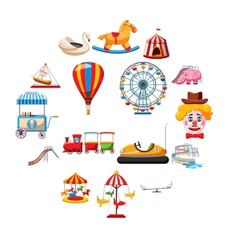 Amusement park icons set, flat style