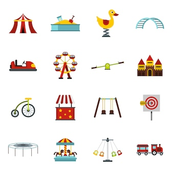 Amusement park icons set