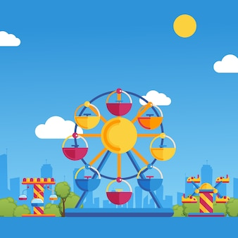 Amusement park  illustration. summer fairground carousels on sunny day in city park. fun activity for families with children on summer holidays, kids playground