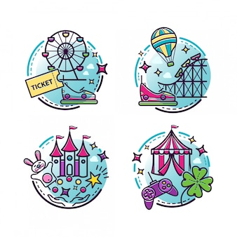 Amusement park  illustrations, outline icons