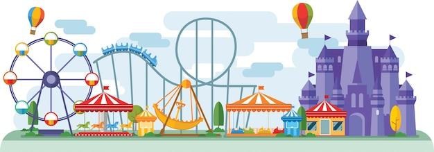 Парк развлечений в плоском цветном векторном стиле