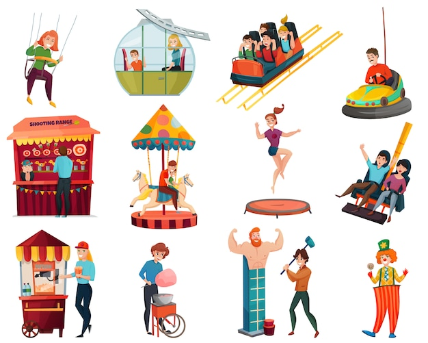 Amusement park isolated elements set