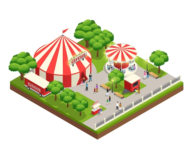 Amusement park isometric composition with carousel circus tent ticket cashier kiosk and people with kids