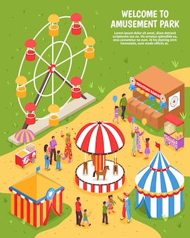 Amusement park isometric illustration